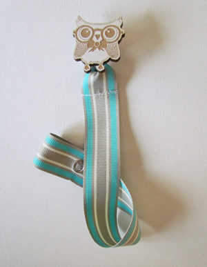 Owl Dummy Clip W/Mint, White & Cream Ribbon
