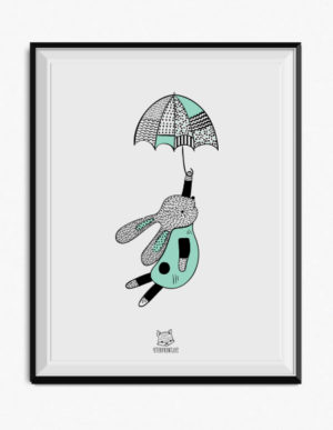 Bunny with Umbrella Poster – Duck Egg