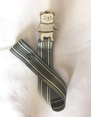 Bear Dummy Clip W/Cream & Blue Ribbon