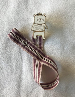Bear Dummy Clip W/Pink, Purple & Burgundy Ribbon