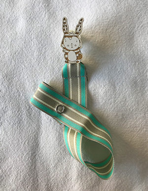 Striped Bunny Dummy Clip W/Mint, White & Cream Ribbon