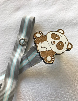 Panda Dummy Clip W/Blue & Grey Ribbon