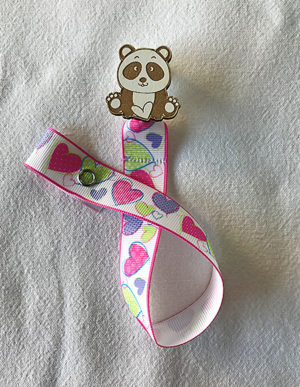 Panda Dummy Clip W/Multi-Coloured Heart Ribbon