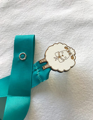 Sheep Dummy Clip W/Turquoise Ribbon
