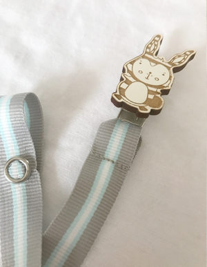 Striped Bunny Dummy Clip W/Blue & Grey Ribbon