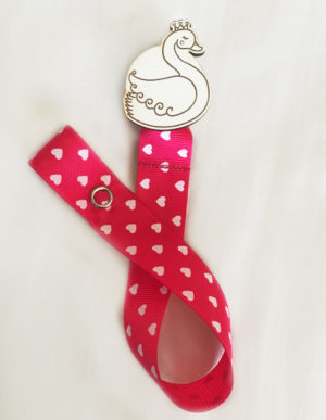 Swan Dummy Clip W/Bright Pink & Hearts Ribbon