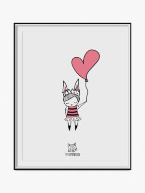 Girl W/ Heart Balloon Poster – Salmon Pink
