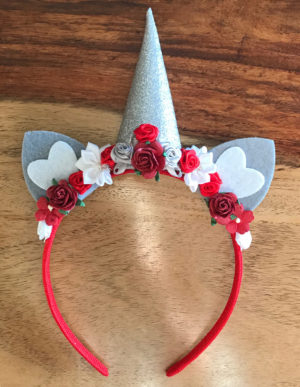 Unicorn Headband Red & White