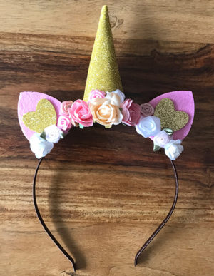 Unicorn Headband Pink, Peach & White