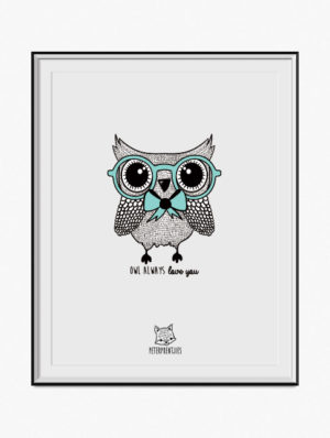 Owl Poster – Blue