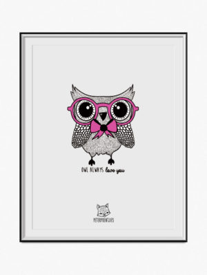Owl Poster – Pink
