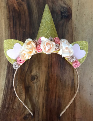 Unicorn Headband Peach & Cream