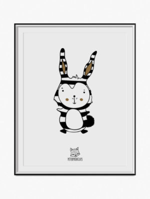 Striped Bunny Poster – Gold