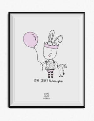 Princess Bunny Poster – Lilac & Grey