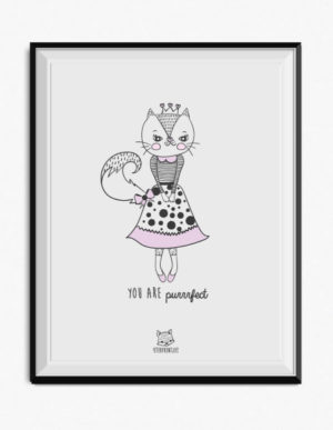 Cat Poster – Lilac & Grey