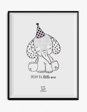 Elephant Poster – Lilac & Grey