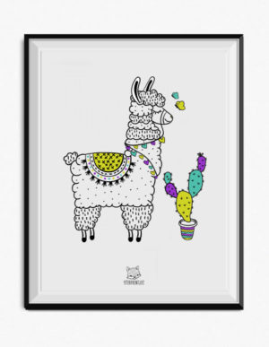Llama Poster – Green, Purple & Mint