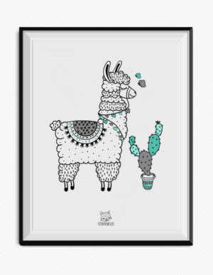 Llama Poster – Blue and Grey