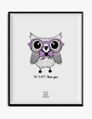 Owl Poster – Purple