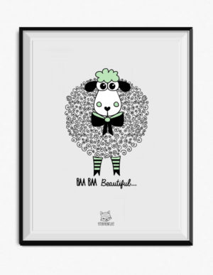 Sheep Poster – Light Green